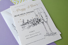 Load image into Gallery viewer, Philadelphia Skyline with Champagne Glasses Hand Drawn Rehearsal Dinner Invitations (set of 25 cards)