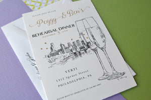 Philadelphia Skyline with Champagne Glasses Hand Drawn Rehearsal Dinner Invitations (set of 25 cards)