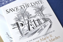 Load image into Gallery viewer, Palm Springs Sign & Palm Trees Skyline Save the Date Cards (set of 25 cards)