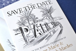 Palm Springs Sign & Palm Trees Skyline Save the Date Cards (set of 25 cards)