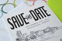 Load image into Gallery viewer, Hawaii Skyline Destination Wedding Save the Date Cards (set of 25 cards)