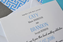 Load image into Gallery viewer, San Diego Crystal Pier Wedding Invitations Package (Sold in Sets of 10 Invitations, RSVP Cards + Envelopes)