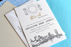 Sacramento Skyline Rehearsal Dinner Invitation Cards (set of 25 cards)