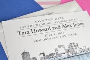 New Orleans Skyline Watercolor & Hand Drawn Save the Date Cards (set of 25 cards)