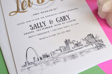 Load image into Gallery viewer, St Louis Skyline Hand Drawn Rehearsal Dinner Invitations (set of 25 cards)