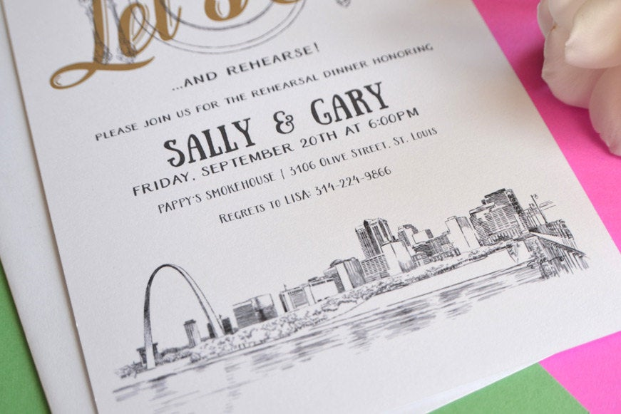 St Louis Skyline Hand Drawn Rehearsal Dinner Invitations (set of 25 cards)