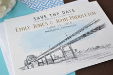 Load image into Gallery viewer, Memphis, Tennessee Skyline Watercolor with Bridge Save the Date Cards (set of 25 cards)