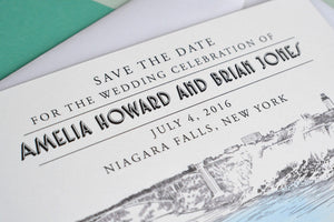 Niagara Falls Wedding, Watercolor Save the Date Cards (set of 25 cards)