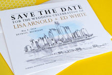 Load image into Gallery viewer, Detroit Skyline Watercolor Save the Date Cards (set of 25 cards)