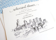 Load image into Gallery viewer, Philadelphia Skyline Rehearsal Dinner Invitations (set of 25 cards)