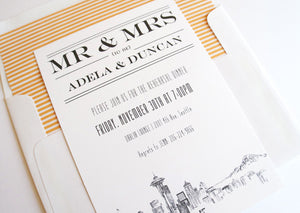 Seattle Skyline Rehearsal Dinner Invitations (set of 25 cards)