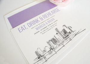 Miami Skyline Rehearsal Dinner Invitations (set of 25 cards)