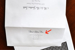 Return Address Printed on Back Flap of Outer Envelope for Save the Date Cards & Rehearsal Dinner Invitations (Sold in sets of 25)