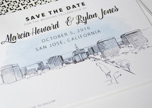 San Jose Wedding Save the Date Cards, Skyline Save the Dates (set of 25 cards and white envelopes)