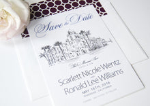 Load image into Gallery viewer, Mission Inn Hotel & Spa, Riverside Skyline Save the Date Cards (set of 25 cards and white envelopes)