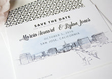 Load image into Gallery viewer, San Jose Wedding Save the Date Cards, Skyline Save the Dates (set of 25 cards and white envelopes)