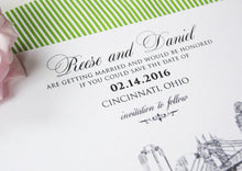 Load image into Gallery viewer, Cincinnati Skyline Hand Drawn Save the Date Cards (set of 25 cards)