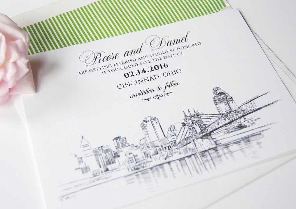 Cincinnati Skyline Hand Drawn Save the Date Cards (set of 25 cards)