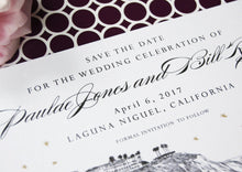 Load image into Gallery viewer, Laguna Beach Skyline Save the Date Cards- Starry Night Hand Drawn (set of 25 cards)