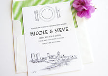 Load image into Gallery viewer, Fort Worth, Texas Skyline Rehearsal Dinner Invitations (set of 25 cards)
