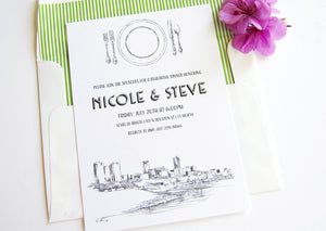 Fort Worth, Texas Skyline Rehearsal Dinner Invitations (set of 25 cards)
