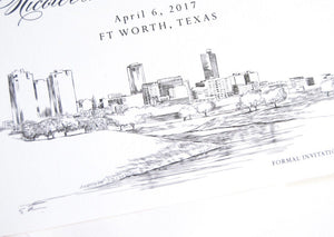 Fort Worth, Texas Skyline Save the Date Cards (set of 25 cards and white envelopes)