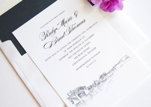 Chattanooga Skyline Hand Drawn Modern Wedding Invitation Package (Sold in Sets of 10 Invitations, RSVP Cards + Envelopes)