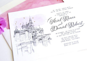 Disneyland Sleeping Beauty Castle Fairytale Wedding Invitation, Quinceañera, Invite (Sold in Sets of 10 Invitations, RSVP Cards + Envelopes)
