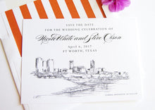 Load image into Gallery viewer, Fort Worth, Texas Skyline Save the Date Cards (set of 25 cards and white envelopes)