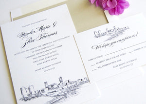 Fort Worth, Texas Skyline Wedding Invitation Package (Sold in Sets of 10 Invitations, RSVP Cards + Envelopes)