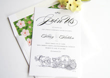 Load image into Gallery viewer, Disney Inspired Cinderella's Carriage Fairytale Wedding Rehearsal Dinner Invitations (set of 25 cards)