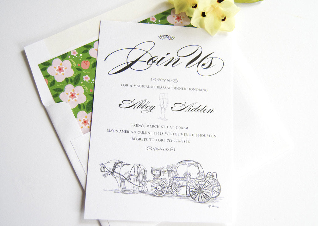 Disney Inspired Cinderella's Carriage Fairytale Wedding Rehearsal Dinner Invitations (set of 25 cards)