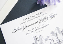 Load image into Gallery viewer, Boston Skyline Hand Drawn Save the Date Cards (set of 25 cards)
