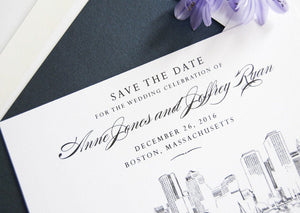 Boston Skyline Hand Drawn Save the Date Cards (set of 25 cards)
