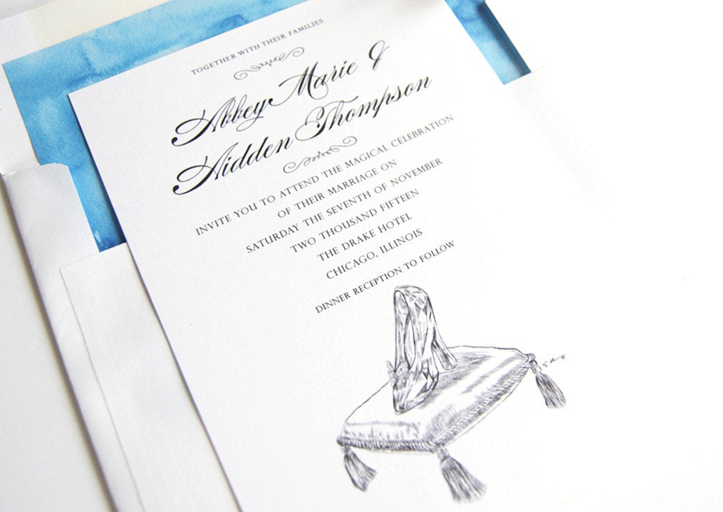 Disney Inspired Glass Slipper Fairytale Wedding Invitations, Quinceanera  (Sold in Sets of 10 Invitations, RSVP Cards + Envelopes)