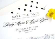 Load image into Gallery viewer, El Paso, Texas Wedding Save the Date Cards, Skyline Save the Dates (set of 25 cards and white envelopes)
