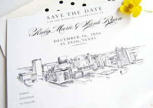 El Paso, Texas Wedding Save the Date Cards, Skyline Save the Dates (set of 25 cards and white envelopes)
