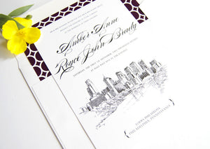 Philadelphia Skyline Wedding Invitation, Philadelphia Wedding, Philadelphia Invite  (Sold in Sets of 10 Invitations, RSVP Cards + Envelopes)