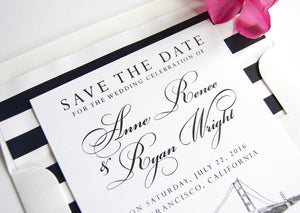 San Francisco Skyline Hand Drawn Save the Date Cards (set of 25 cards)