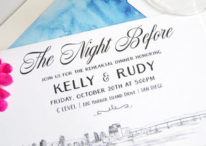 San Diego Skyline Rehearsal Dinner Invitations (set of 25 cards)