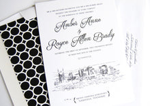Load image into Gallery viewer, Nashville Wedding Invitations, Nashville Skyline, Wedding Invitation, Hand drawn invitation (Sets of 10 Invitations, RSVP Cards + Envelopes)