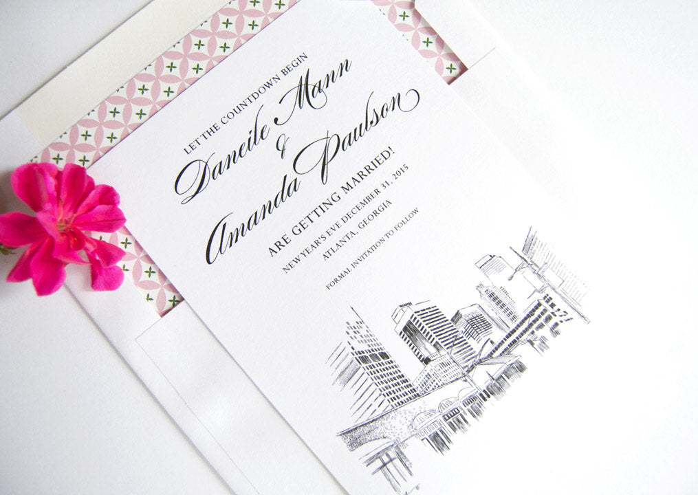Atlanta, Georgia Wedding Skyline Save the Date Cards, Save the Dates (set of 25 cards and white envelopes)