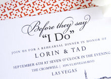 Load image into Gallery viewer, Las Vegas Skyline Destination Wedding Hand Drawn Rehearsal Dinner Invitations (set of 25 cards)