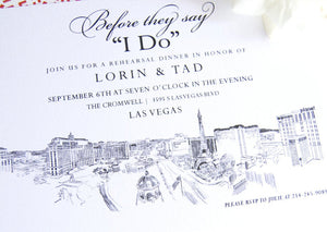 Las Vegas Skyline Destination Wedding Hand Drawn Rehearsal Dinner Invitations (set of 25 cards)