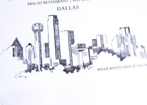 Dallas Skyline Hand Drawn Rehearsal Dinner Invitations (set of 25 cards)