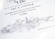 Load image into Gallery viewer, St Paul Skyline Rehearsal Dinner Invitation Cards (set of 25 cards)