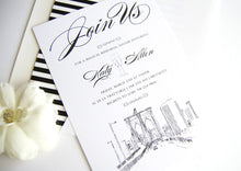 Load image into Gallery viewer, Brooklyn Skyline Hand Drawn Rehearsal Dinner Invitations (set of 25 cards)