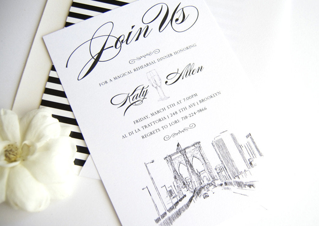 Brooklyn Skyline Hand Drawn Rehearsal Dinner Invitations (set of 25 cards)