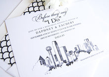 Load image into Gallery viewer, Dallas Skyline Hand Drawn Rehearsal Dinner Invitations (set of 25 cards)