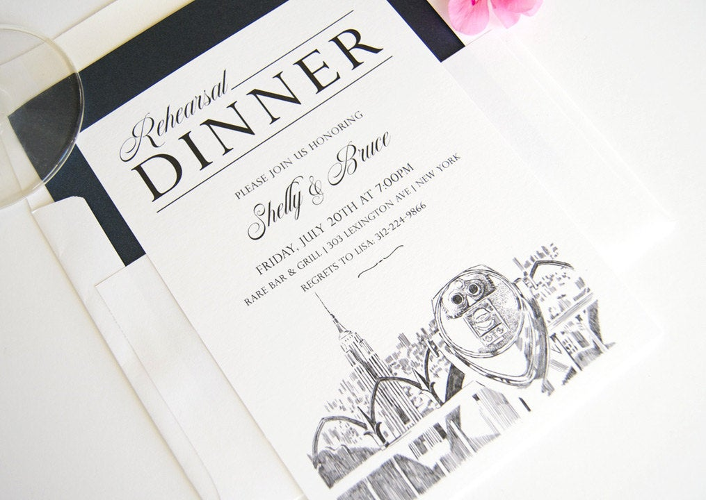 New York Empire State Building Skyline Rehearsal Dinner Invitations (set of 25 cards)